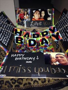 Happy birthday care package military care package. like the idea of stringing a banner inside the box for when it opens it pops up.