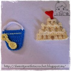 Crochet Patch Sandcastle, Pail & Shovel - Tutorial ❥ 4U // hf
