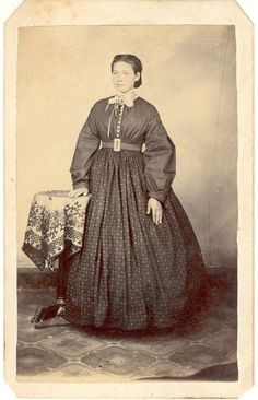 Possibly Garibaldi outfit    1860s silk bodice and wool skirt. Shaped cuffs on sleeves.