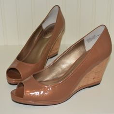 Almond Patent Leather Cork Wedges Stunning almond colored peep toe wedges with unique cork on the heel! Size 7.5. These are perfect with white jeans or a fun dress! Never worn, excellent condition, and very comfortable. me too Shoes Wedges