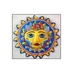 Sun Design - Outdoor Garden Decor - Colorful Hand Painted Metal Wall... via Polyvore featuring home, outdoors, outdoor decor, outdoor sun decor, outdoor metal decor, outdoor garden decor and metal garden decor