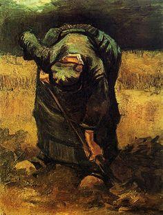 Peasant Woman Digging - Vincent van Gogh - 1885