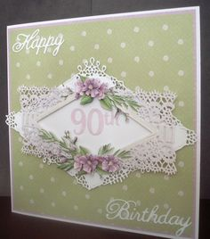 Tattered Lace dies and background. Birthday Posts, 90th Birthday, Die Cut Cards, Pretty Cards, Blank Cards, I Card, This Or That Questions, Frame, Projects