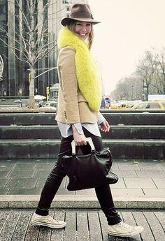 black bottoms - camel blazer/coat - yellow bag