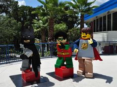 Super Heroes took over LEGOLAND Florida during Club Weekend 2012. Here LEGO Club's Max poses with a pair of Super Heroes.
