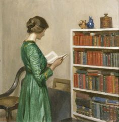 """""""The Reader"""", c.1910, by Harold Knight (English, 1874-1961). Knight studied at Nottingham School of Art under Wilson Foster. It was there that he met his future wife, Laura Johnson. Harold was a quiet character who is largely remembered, unfairly, as an adept but unexciting painter, while Laura (later Dame Laura) was flamboyant in both her life and art and achieved greater public renown."""