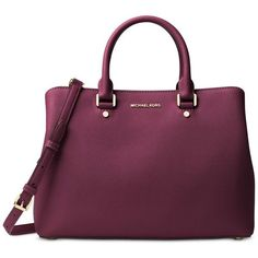 Michael Michael Kors Savannah Large Satchel ($368) ❤ liked on Polyvore featuring bags, handbags, plum, michael kors satchel, purple purse, handbag satchel, satchel style handbag and structured satchel handbag http://feedproxy.google.com/fashiongobags1