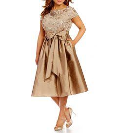 Adrianna Papell Plus Short Sleeve Sequined Lace Taffeta Dress #Dillards