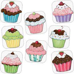 Susan Winget cupcake designs Fondant Cupcake Toppers, Cupcake Art, Cupcake Cakes, Rose Cupcake, Cupcake Illustration, Fun Crafts, Diy And Crafts, Paper Crafts, Owl Cupcakes