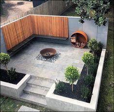 Hinterhof Patio Herd Ideen, Holzlager und Bank mit schönen Abstellgleis # Abstellgleis Backyard patio stove ideas, wood storage and bench with beautiful siding # siding, yard # Ideas #