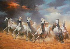 """horses running   Horses Running Wild VI,"""" Najim Aljaf, Oil on canvas, NA-006"""