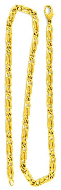 Foto 3, Pfauenauge oder Tigerauge-Kette, massiv Gelbgold Luxus!, K2940