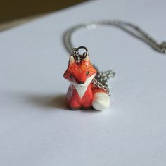 Red Fox Necklace  Wonderfully handmade by myself.  This cute red fox necklace is suitable for someone who loves animals. It will hang around your neck and will accompany you wherever you go. This fox necklace was made from clay, hand painted with acrylic paint and finished with a protective varnish.  ***************** Fox totem size : tall 2.5 cm / 1 inch Chain : available in 75 cm / 29 inch and 60 cm / 23.6 inch *****************  This will be a great gift for those who loves animal and…