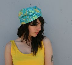vintage 60s turquoise pleated turban