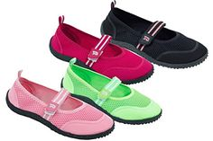 Brand New Women's Slip-On Water Shoes With Velcro Strap Available In 4 Colors -- More info could be found at the image url.