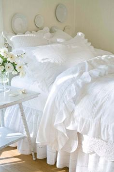 good morning I love white bedding you can wash it on a hot wash & you don't have to change it every time you decide to go for a different colour on the walls
