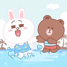 Baby Cony & Baby Brown Out Playing At The Beach Cony Brown, Chibi Cat, Cute Couple Cartoon, Brown Babies, Mocha Brown, Line Friends, Cute Gif, Cute Love, Cute Couples