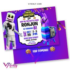 DJ Marshmello Birthday Invitation with FREE Thank you card! Digital Files will be delivered within or less! FREE Thank you card included! Digital Invitations, Birthday Invitations, E Invite, Free Thank You Cards, File Format, Text Messages, Your Cards, Rsvp, Birthday Parties