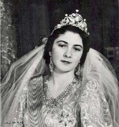 Egyptian Queen Farida's Swan & Peacock Wedding Tiara photographed by Alban, her personal photographer, in 1938.