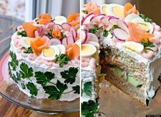 Salmon, Egg And Shrimp Sandwich Cake.. seriously going to make this for something at some point!