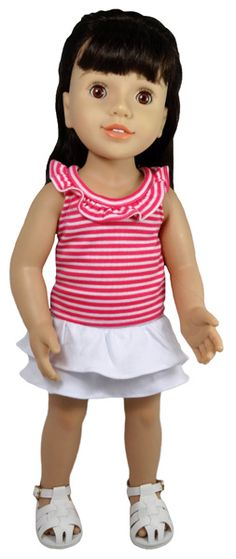 Your doll will stay cool all summer long in this striped white & pink ruffle tank which fastens at the back with a Velcro strip.  It matches perfectly with the adorable white tiered skirt that simply pulls on with elastic waist.