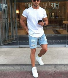 This Mens summer casual short outfits worth to copy 14 image is part from 75 Best Mens Summer Casual Shorts Outfit that You Must Try gallery and article, click read it bellow to see high resolutions quality image and another awesome image ideas.