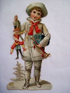 Charming 1800's Victorian Die-Cut of Boy Holding Toy Puppet and Toy Trumpet