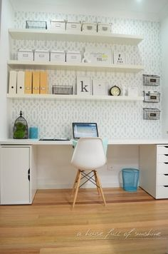 S&D Home office makeover reveal! Ikea Alex drawer unit.Ikea Lacks floating shelves, Matt Blatt.com Eames side chair $69 Sold in Australia only.