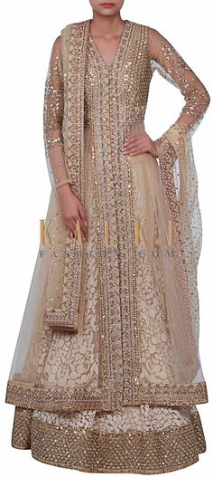 Buy Online from the link below. We ship worldwide (Free Shipping over US$100) http://www.kalkifashion.com/beige-lehenga-adorn-in-thread-and-sequin-embroidery-only-on-kalki-16788.html