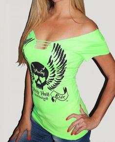 Redneck Biker - Wings/Skull Cut Tee-Neon, $32.00 (http://www.redneckbiker.com/wings-skull-cut-tee-neon/)