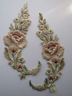 PR Antique Hand Stitched French Silky Floral Appliqués w/Metallic Detail-Never Used - RUBY RED TAG SALE 30% OFF Starts APRIL 5th 8am PDT @rubylanecom www.rubylane.com