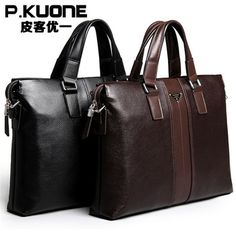 P. Kuone genuine leather bag Men's bag brand designer business handbag Patent pattern genuine leather briefcase