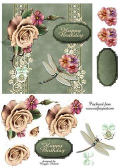 Vintage Green and Roses Quick Card Topper on Craftsuprint - Add To Basket!