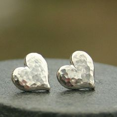 Large Hammered Heart Earrings in Sterling Silver #SterlingSilverNecklace #SterlingSilverClothes