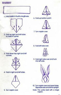 TABLE DECORating/ Napkin Folding 101 - 6 Designs, As the Great White Rabbit will soon be making his appearance and Spring n Summer are aroun. TABLE DECORating/ Napkin Folding 101 - 6 Designs, As the Great White Rabbit will soon be making Bunny Napkin Fold, Paper Napkin Folding, Folding Napkins, Napkin Origami, Folding Tables, Origami Easy, Linen Napkins, Easter Dinner, Easter Party