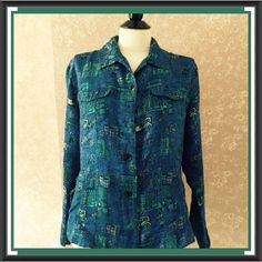 Chicos 2 Silk Embroidered Shirt Jacket Blue Womens Medium M #Chicos #Blouse #Casual