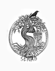 Tree of life with ouroboros snake tattoo