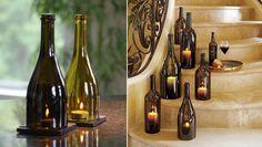 Velas decoración con botellas de vino
