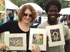 """This cute couple loved the artwork and started their collection with a selection of """"BUY 2 GET 1 FREE"""" matted prints!"""