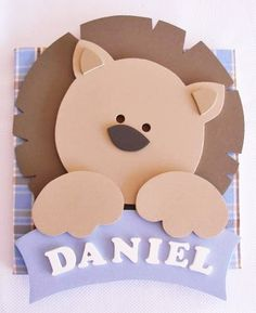 Daniel, unique name. Paper Punch, Punch Art, Kids Cards, Baby Cards, Boy Birthday, Birthday Cards, Circle Punch, Die Cut Cards, New Baby Products