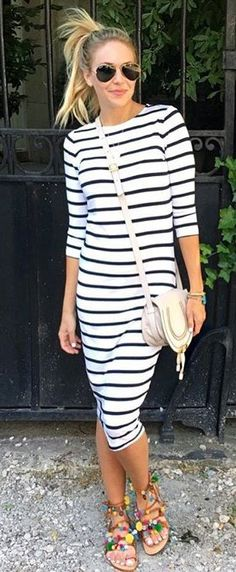 #winter #fashion / Striped Maxi Dress / Leather Shoulder Bag / Sandals