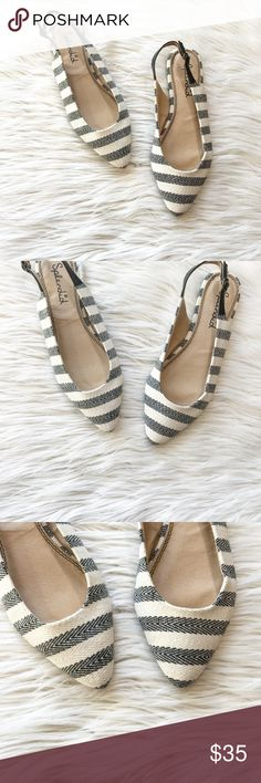 Splendid Canvas Striped Slingback Flats Splendid Canvas Striped Slingback Flats in excellent condition. Great shoes for sprint or summer. Pointed toe style with an adjustable ankle strap. No trades, offers welcome. Textile upper, size 9.5. Splendid Shoes Flats & Loafers