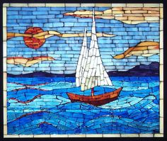 Sailboat sunset, 2011 by Suzanne Tremblay - Stained Glass Mosaic Stepping Stones, Stone Mosaic, Mosaic Glass, Glass Art, Stained Glass, Paper Mosaic, Mosaic Crafts, Mosaic Projects, Mosaic Artwork