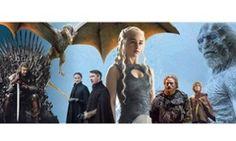 L-r: Sean Bean as Eddard Stark; one of Daenerys's dragons; Sophie Turner as Sansa Stark and Aidan Gillen as Littlefinger; Emilia Clarke as Daenerys Targaryen; Kristofer Hivju as Tormund Giantsbane; Peter Dinklage as Tyrion Lannister; a White Walker.
