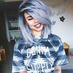 cool Blue Pastel Hair Long Bob Haircut INSTAGRAM: missy.diana.xo PINTEREST: itsmissyd...