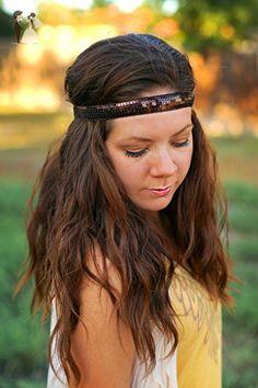 Brown Sequin Boho Headband - Forehead Headband - Bohemian Gypsy Headbands - Hippie Sparkle - Bridal hair accessories (*Amazon Partner-Link)
