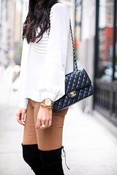 Over The Knee Boots - Cynthia Vincent blouse c/o // Joe's jeans Stuart Weitzman boots Chanel bag // Celine sunglasses Thursday, November 13, 2014