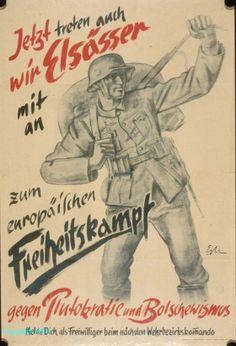 Appel aux engagements volontaires  Affiche R. Schlegel, 1941  Photo et coll. BNU Strasbourg (ref. 739047)