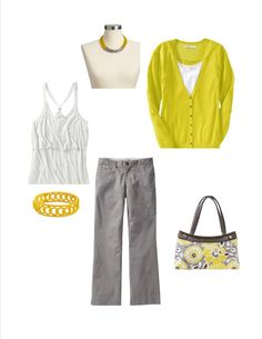 Yellows and grays for the summer - with a Thirty-One Skirt Purse in Awesome Blossom, of course!!