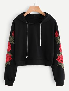 ROMWE Embroidered Rose Applique Sleeve Hoodie 2018 Autumn Long Sleeve Casual Pullovers 2018 Women Black Sweatshirt - All About Teenage Outfits, Teen Fashion Outfits, Outfits For Teens, Trendy Outfits, Cool Outfits, Ootd Fashion, Fashion Dresses, Fashion Vest, Womens Fashion